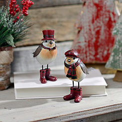 Little Bird in Winter Hat Statues, Set of 2