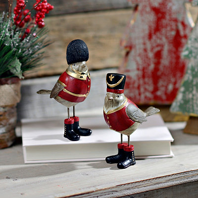 Little Bird in Soldier Hat Statues, Set of 2