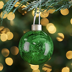 Pre-Lit Green Mercury Glass Ornament