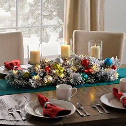 Pre-Lit Flocked Ornaments Centerpiece