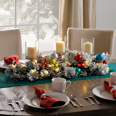 Flocked Ornaments Centerpiece
