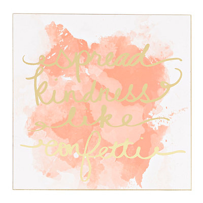 Spread Kindness Coral Watercolor Plaque