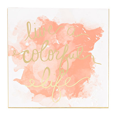 Colorful Life Coral Watercolor Plaque