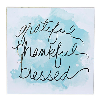 Blessed Turquoise Watercolor Plaque