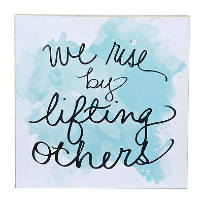 Lifting Others Turquoise Watercolor Plaque