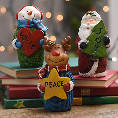 Christmas Character Sentiment Statues, Set of 3