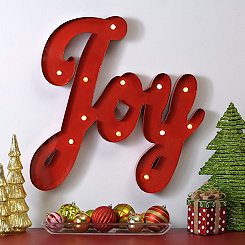 Pre-Lit Metal Joy Wall Plaque