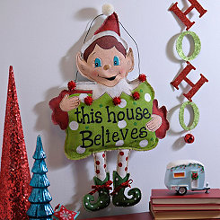 This House Believes Elf Burlap Wall Plaque