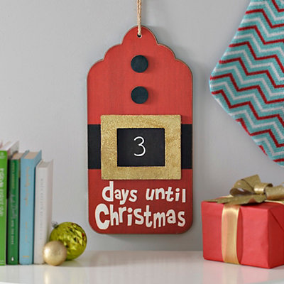 Days Til Christmas Santa Belt Chalkboard Plaque