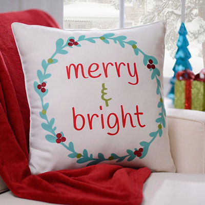 Merry & Bright Wreath Pillow