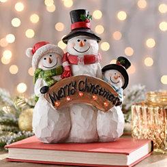 Pre-Lit Christmas Snowman Family Statue