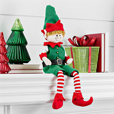 Striped Christmas Elf Shelf Sitter