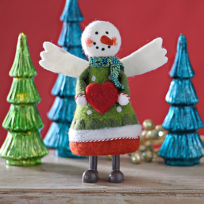 Large Plush Angel Snowgirl Statue