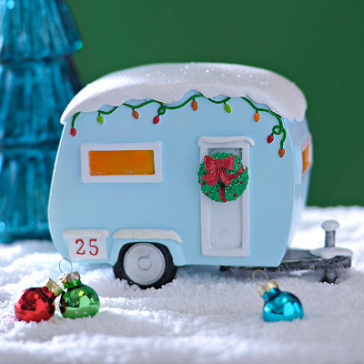 Turquoise Christmas Camper Figurine