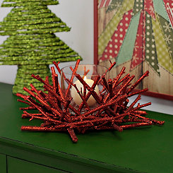Red Twig Christmas Candle Holder