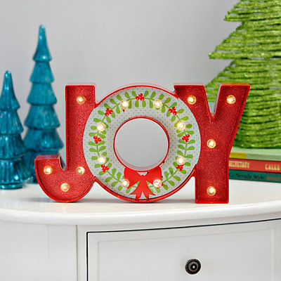 Joy LED Glitter Tabletop Sign