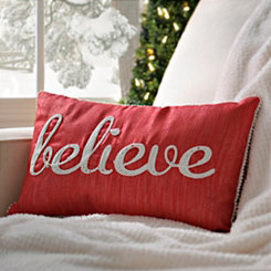 Red Embroidered Believe Pillow