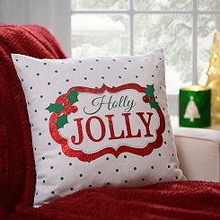 Polka Dotted Holly Jolly Pillow