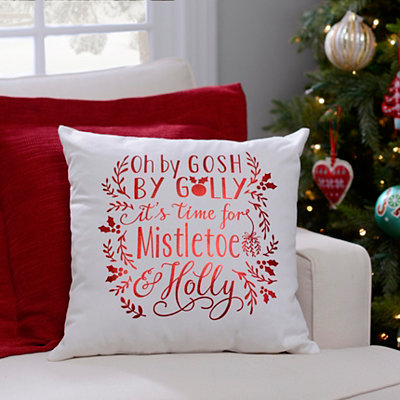 It's Time for a Mistletoe & Holly Pillow