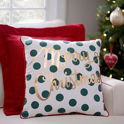 Polka Dotted Merry Christmas Pillow