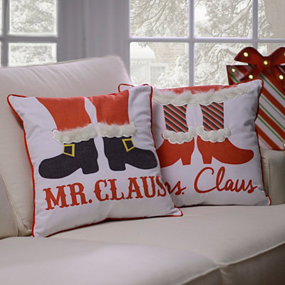 Mr. and Mrs. Claus Pillows, Set of 2