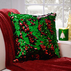 Red and Green Mermaid Sequin Pillow