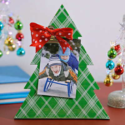 Christmas Tree Bow Clip Photo Frame