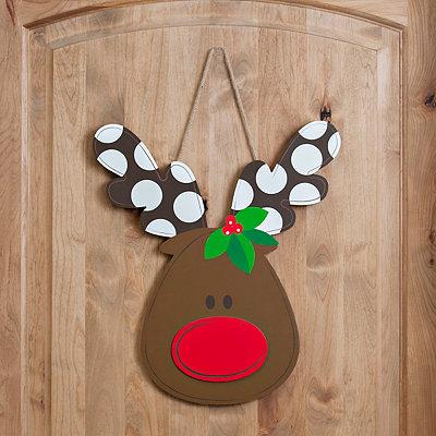 Polka Dotted Antler Reindeer Plaque