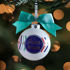 Turquoise Bowed Shine Bright Ornament