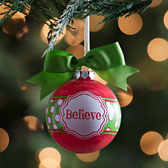 Green Bow Believe Ornament