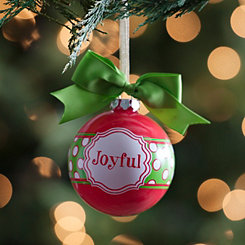 Green Bow Joyful Ornament