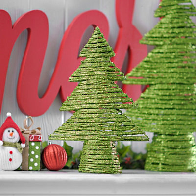 Green Rattan Christmas Tree, 16 in.