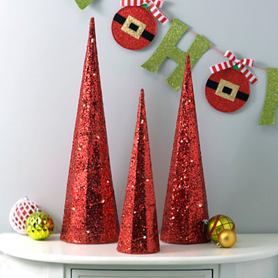Pre-Lit Red Glitter Cone Trees, Set of 3