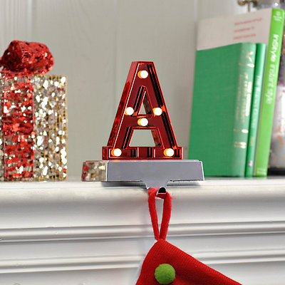 Pre-Lit Monogram A Stocking Holder