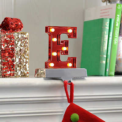 Pre-Lit Monogram E Stocking Holder