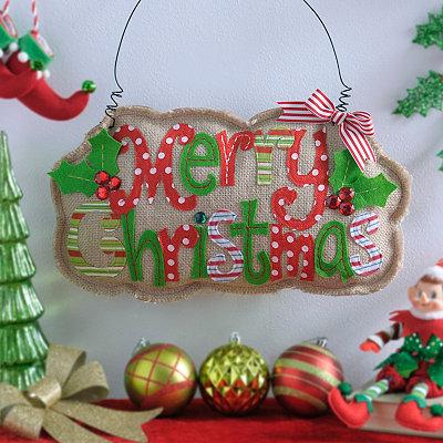 Merry Christmas Burlap Wall Hanger