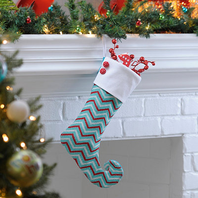 Blue Chevron Curled Elf Stocking