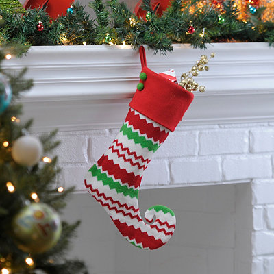 Alternating Chevron Curled Elf Stocking