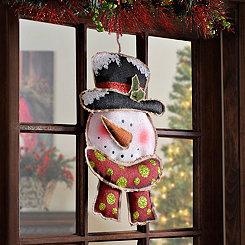 Glitter Snowman Burlap Wall Plaque