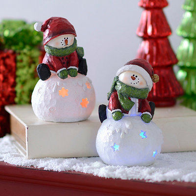 Snowman on Snowball LED Figurines, Set of 2