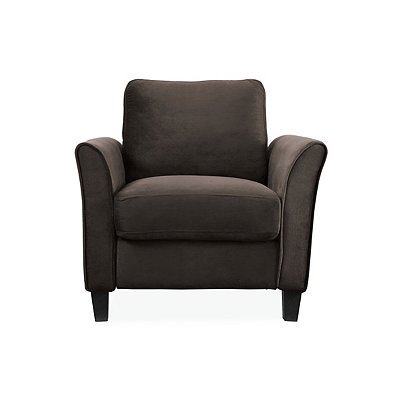 Madrid Coffee Microfiber Curved Arm Chair