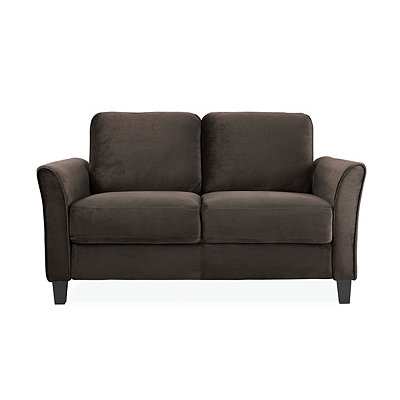 Madrid Coffee Microfiber Curved Arm Loveseat