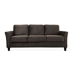 Madrid Coffee Microfiber Curved Arm Sofa