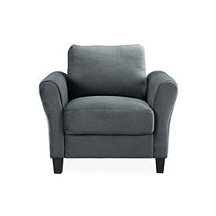 Merida Gray Microfiber Rolled Arm Chair