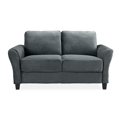 Merida Gray Microfiber Rolled Arm Loveseat