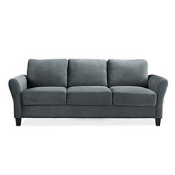 Merida Gray Microfiber Rolled Arm Sofa