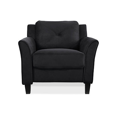 Villena Black Microfiber Curved Arm Chair