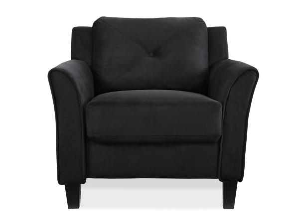 villena black microfiber curved arm chair