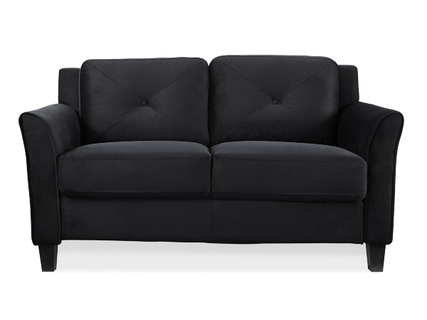 Villena Black Microfiber Curved Loveseat