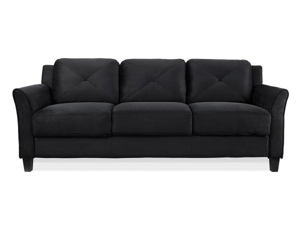 Villena Black Microfiber Curved Arm Sofa